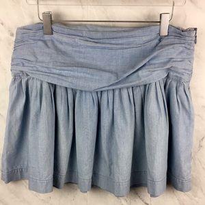 Paige Chambray Gathered Mini Skirt 100% Cotton